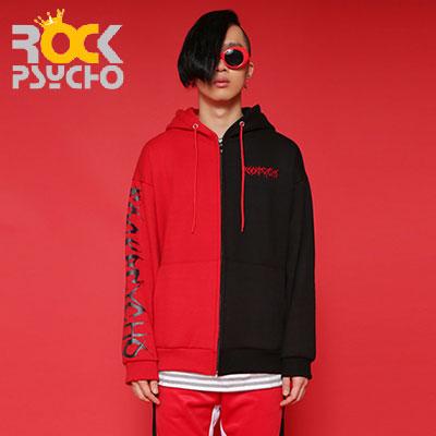 【ROCK PSYCHO】オーバーサイズハーフアンドハーフフードジップアップ