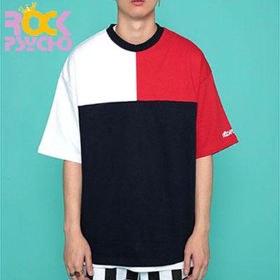 【ROCK PSYCHO】3色配色オーバーサイズ半袖Tシャツ