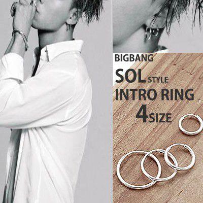 (10,12,14,16mm)BIGBANG SOL STYLE!サージカルスチール素材シンプルシルバーリングピアス(ペア)