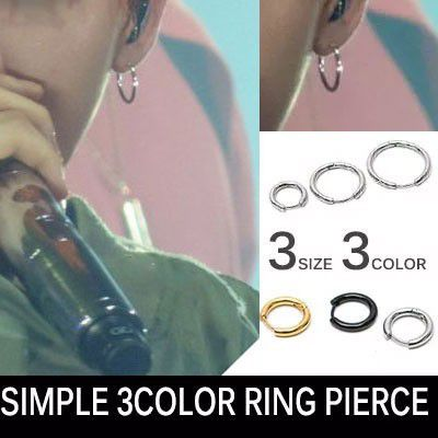 BIGBANG G-DRAGON [MADE]活動のときファッションスタイル![1ea]シンプル3カラーリングピアス1個/サージカルスチール/SIMPLE 3COLOR RING PIERCE
