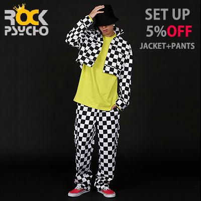 【ROCK PSYCHO】 [set-5%]チェッカーボードジャケット+パンツセット