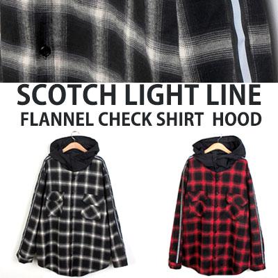 [UNISEX] スコッチライトラインフランネルチェックシャツフード(2color)
