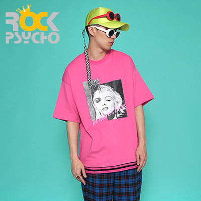 【ROCK PSYCHO】MMオーバーサイズ半袖Tシャツ-PINK