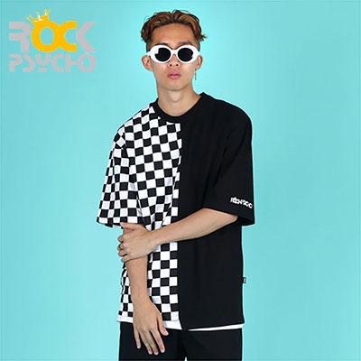 【ROCK PSYCHO】アンバランスチェッカーボード半袖Tシャツ(L,XL)