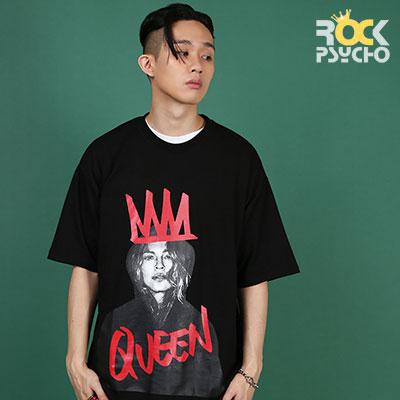 【ROCK PSYCHO】クイーンプリント半袖Tシャツ - BLACK