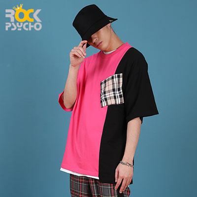 【ROCK PSYCHO】アンバランスロンドンポケット半袖Tシャツ-PINK