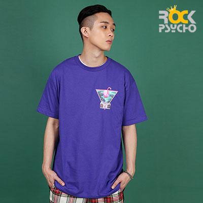 【ROCK PSYCHO】フラミンゴプリント半袖Tシャツ-PURPLE