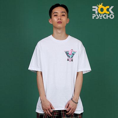 【ROCK PSYCHO】フラミンゴプリント半袖Tシャツ-WHITE