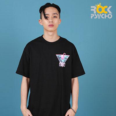 【ROCK PSYCHO】フラミンゴプリント半袖Tシャツ -BLACK