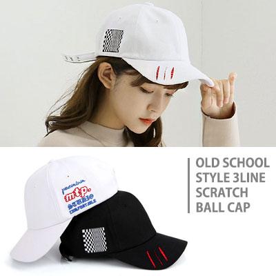 [UNISEX] オールドスクールスタイルの3ラインスクラッチボールキャップ(2color)