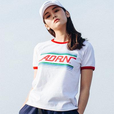 【2XADRENALINE】ADRNラインリンガーTシャツ(女性用/WHITE)