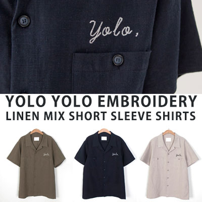 [UNISEX] YOLO刺繍リネンミックスショートスリーブ/半袖(3color)