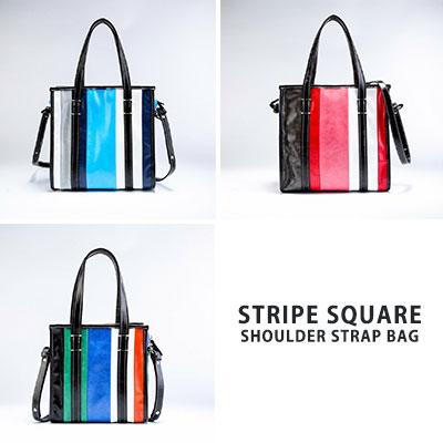 [M-size]ストライプスクエアショルダーストラップバッグ(3color)