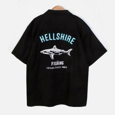 [UNISEX] シャークバック刺繍ショートシャツ/半袖(2color)