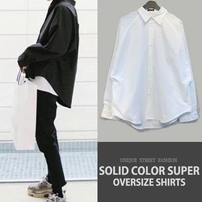 ★2018f/w new ver.再入荷★ [UNISEX] ソリッドカラースーパーオーバーサイズシャツ(2color)