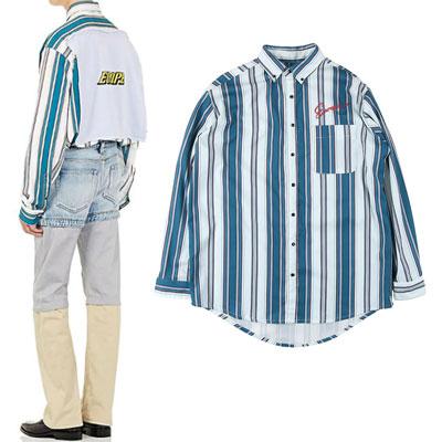 [UNISEX] EUROPE ロゴバックフラグポイントブルーストライプシャツ