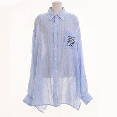 [UNISEX] スクエアロープパターン刺繍オーバーサイズシャツ(2color)