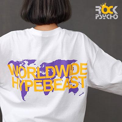 【ROCK PSYCHO】WORLDWIDE CITY 半袖Tシャツ -BLACK/WHITE