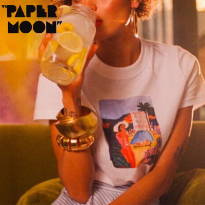 【PAPER MOON】マダムプリントtシャツ/半袖 -white