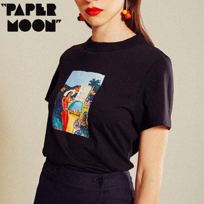 【PAPER MOON】マダムプリントtシャツ/半袖 -black