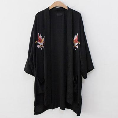 [UNISEX] イーグル刺繍ローブカーディガン(2color)