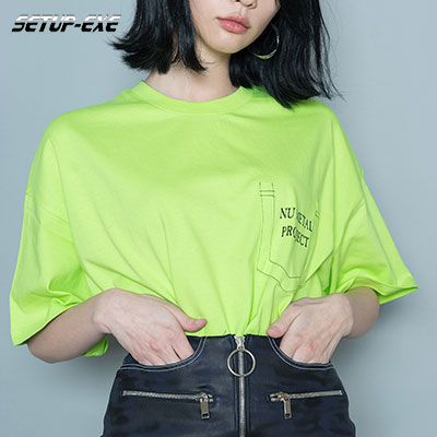 【SETUP-EXE】CUTTING POCKET T - SHIRT - LIME
