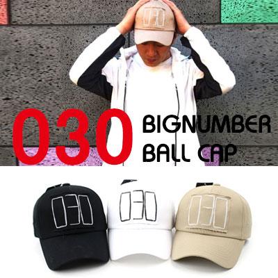 [UNISEX] 030 ビッグナンバーパッチボールキャップ(3color)