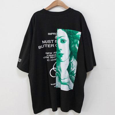 [UNISEX] ハーフビーナスプリントショートスリーブtシャツ/半袖(3color)