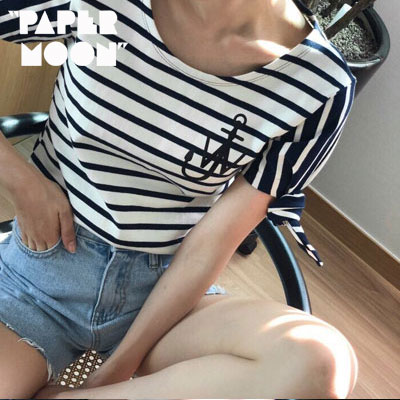 【PAPER MOON】いかりロゴサイドリボンショートスリーブtシャツ/半袖 -ivoryxnavy