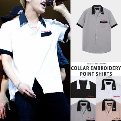 防弾少年団/BTS/JIN/ジン/SEOKJIN st. 刺繍ポイントシャツ(4color)