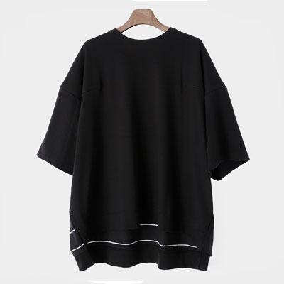 [UNISEX] サイドストライプパターンポイントショートスリーブtシャツ/半袖(2color)