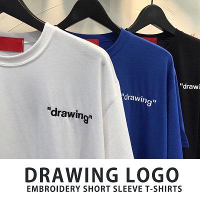 [UNISEX] ドローイングロゴ刺繍ショートスリーブtシャツ/半袖(3color)