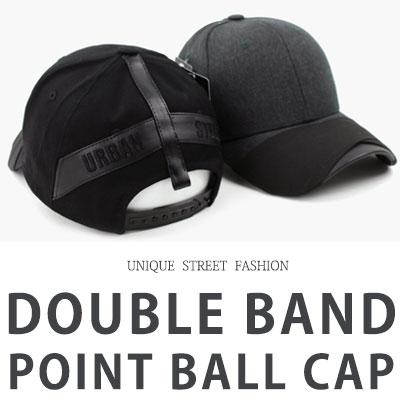 [UNISEX] ダブルバンドのポイントボールキャップ(2color)