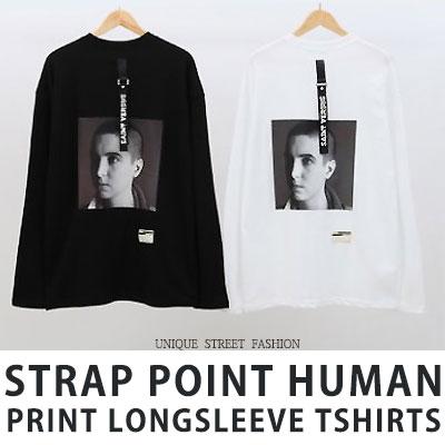 [UNISEX] ストラップポイントヒューマンプリントロングスリーブtシャツ/長袖(2color)