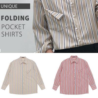 [UNISEX] 折ったポケットストライプシャツ(2color)