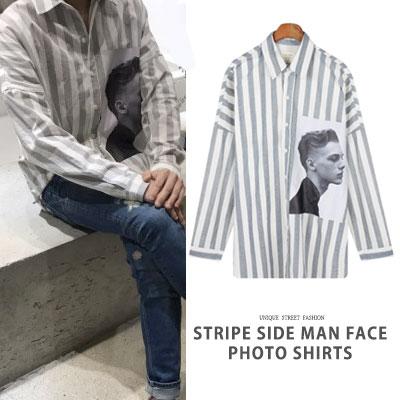 [UNISEX] ストライプサイドマンフェイスフォトシャツ(2color)