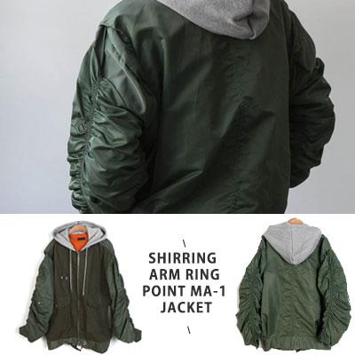 [UNISEX] シャーリングスリーブリングポイントMA-1ジャケット -khaki