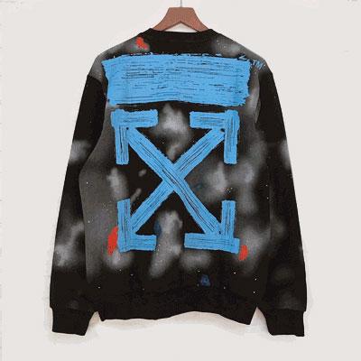 [UNISEX] ブルーペイントARROWプリントスウェットシャツ