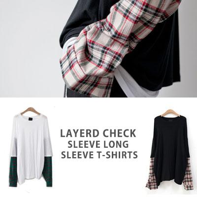 [UNISEX] レイヤードチェックスリーブロングスリーブtシャツ(2color)
