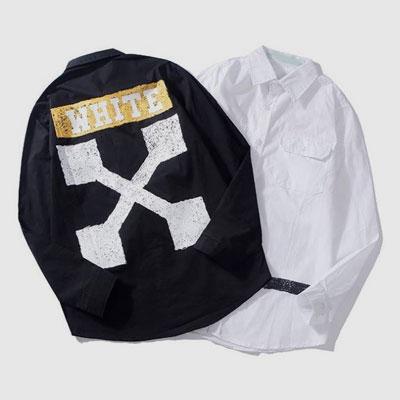 [UNISEX] 落書きバックプリントシャツ(2color)