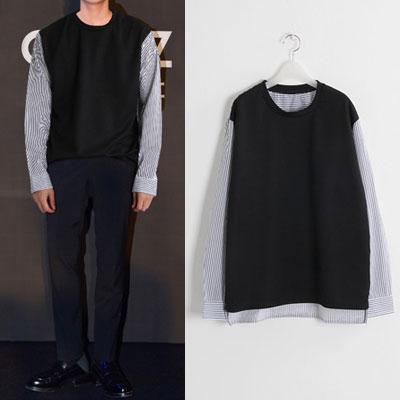 [UNISEX] ピンストライプスリーブスウェットシャツ(2color)