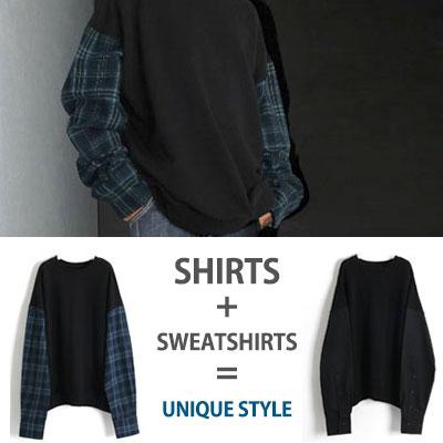 [UNISEX] スリーブシャツスウェットシャツ (2color)