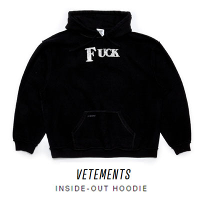 《only VIP》LINE Vet@ments Inside Out Fuck Hoodie (Black)