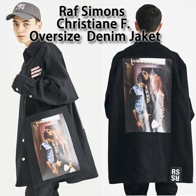 《only VIP》LINE Raf Sim@ns 18fw- Christiane F.Oversize Black Denim Jaket