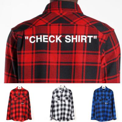 [UNISEX] CHECK SHIRTS ロゴが魅力的なフランネルチェックシャツ(3color)