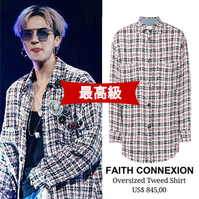 《only VIP》LINE [最高級バージョン]F@ith Connexion Oversize Tweed Shirts (Navy/Red/White)