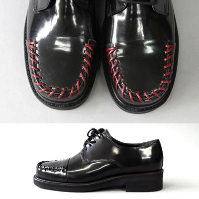 [24.5 ~ 28.0cm] ブラック&レッドステッチフォーマルブラックローファー(2color)