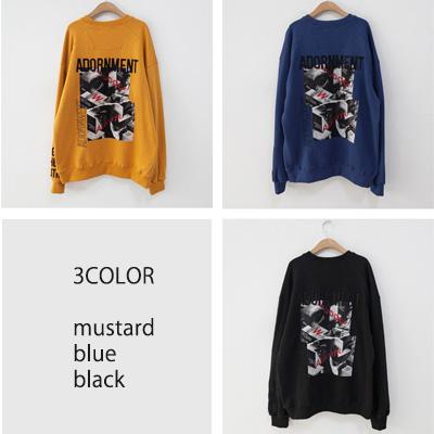 [UNISEX] ADORNMENT バックポイントスウェットシャツ(3color)
