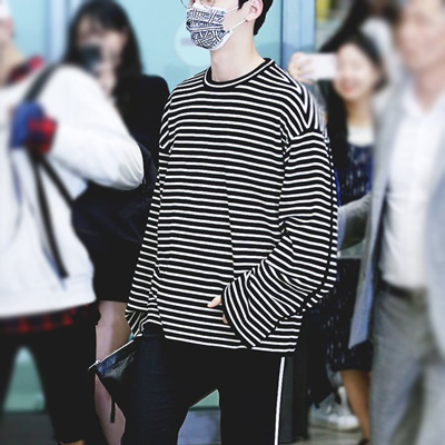 [UNISEX] WANNAONE/NUEST/Hwang Minhyun st. オーバーサイズストライプクルーネックTシャツ/長袖