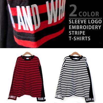 [UNISEX] スリーブロゴ刺繍ストライプロングスリーブtシャツ/長袖(2color)